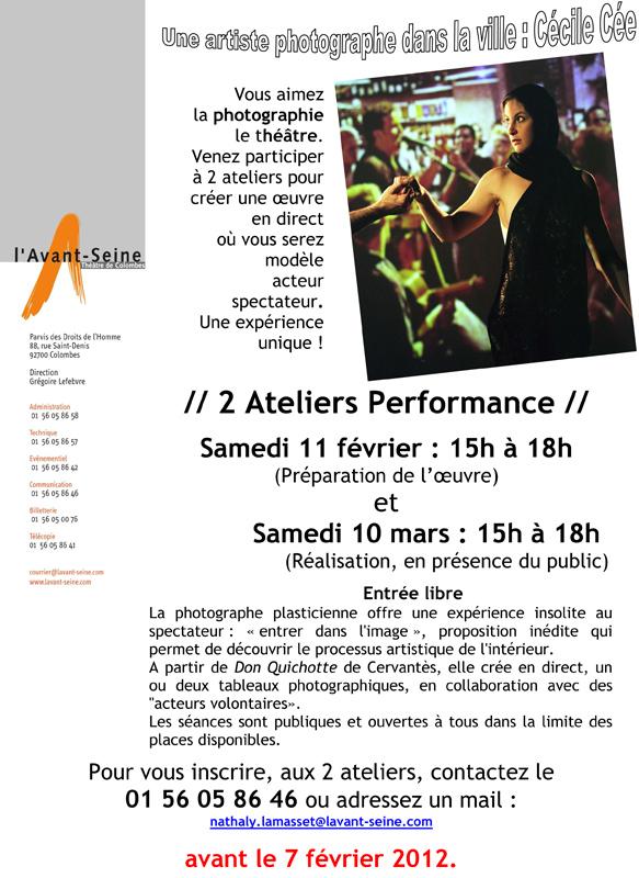 Atelier performance le 10 mars à lAvant Seine Cécile Cee